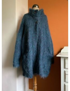 Hand Knitted Vintage 70's 80's Mohair Coatigan Cardigan Oversized Size M L Xl by Hand Knitted