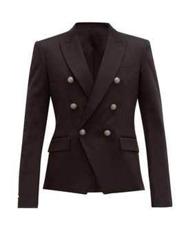 Double Breasted Cotton Blend Blazer by Balmain