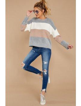 Just Like Before Grey Multi Stripe Sweater by Newbury Kustom
