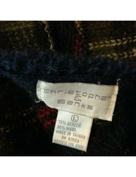 Vintage Christopher & Banks Cardigan Sweater Womens Large Plaid Wool Blend by Christopher & Banks