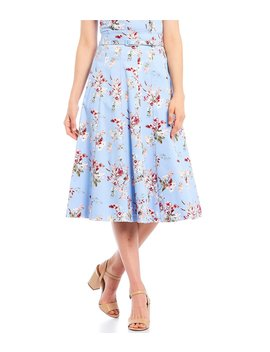 Cole Floral Print A Line Midi Skirt by Antonio Melani