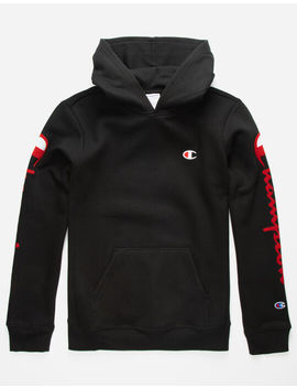 Champion Flock Script Black Boys Hoodie by Champion