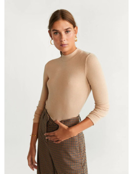 Ribbed Knit T Shirt by Mango