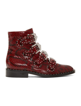 Red Python Multi Strap Boots by Givenchy