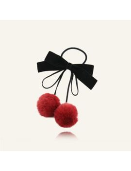 Twin Bear   Velvet Bow Pom Pom Accent Hair Tie by Twin Bear