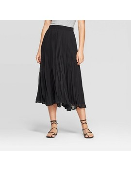 Women's Mid Rise Pleated Midi Skirt   A New Day™ Black by A New Day