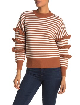 Ruffle Sleeve Ruffle Top Sweater by English Factory
