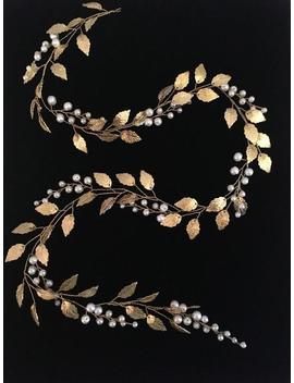 Bridal Hair Vine Gold Hair Piece Bridal Headband Wedding Wreath Gold Head Piece Leaf Tiara Greek Crown Bridal Halo Golden Bridal Headdress by Etsy