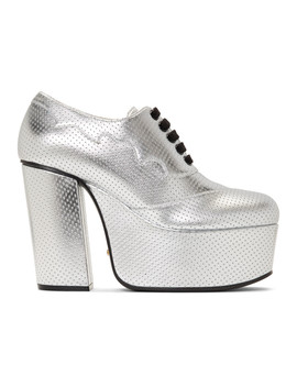 Silver Otis Lace Up Platform Heels by Gucci