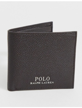 Polo Ralph Lauren Leather Bi Fold Wallet In Brown With Player Logo by Polo Ralph Lauren