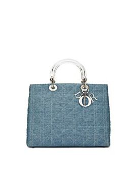 Blue Cannage Denim Lady Dior Large by Christian Dior