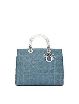 Blue Cannage Denim Lady Dior Large by Christian Dior