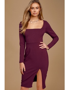Style And Sass Burgundy Square Neck Long Sleeve Bodycon Dress by Lulus