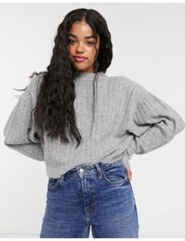 Pull&Amp;Bear Textured Balloon Sleeve Jumper In Grey by Pull&Bear
