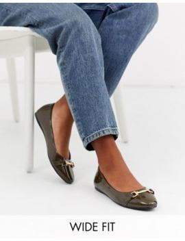 Asos Design Wide Fit Layla Snaffle Ballet Flats In Olive by Asos Design