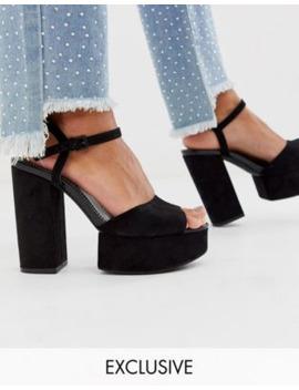 Bershka Chunky Platform Sandals In Black by Bershka