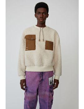 faux-shearling-sweatshirt-ecru-beige by acne-studios