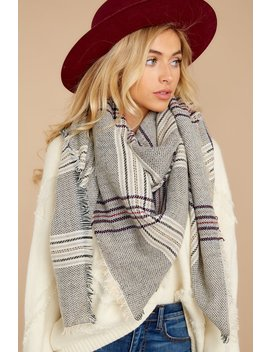 Chilled For The Day Grey Multi Plaid Scarf by Jasmine Trading Corp