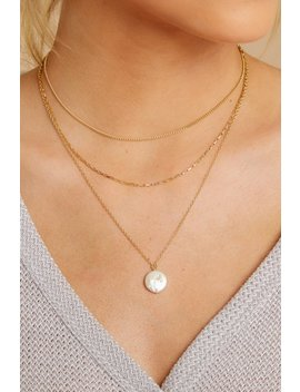 Oh Mother Gold Pearl Necklace by Girly Accessories
