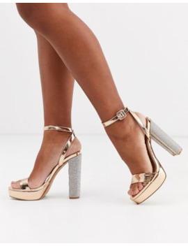Asos Design Nutshell Embellished Platform Barely There Heeled Sandals In Rose Gold by Asos Design