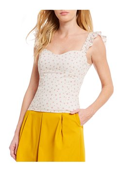 Karen Striped Floral Print Sweetheart Neck Ruffle Strap Top by Gianni Bini