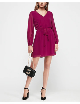 chiffon-sleeve-sash-tie-fit-and-flare-dress by express