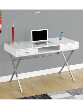 Glossy White Cross Leg Computer Desk by Monarch Specialties