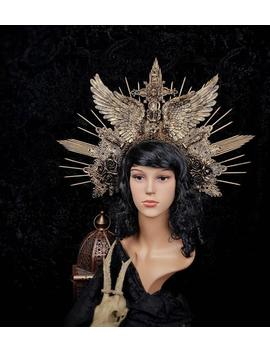 "Big "" Angel Wings"" Madonna Cross Halo Headpiece, Avaiable In Different Colors by Etsy"