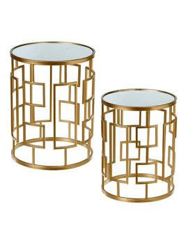 Gold Geometric Mirror Top Side Table   Set Of Two by Ganz