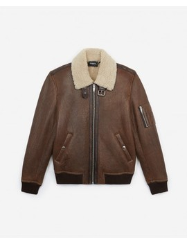 Flight Style Brown Leather Jacket by The Kooples