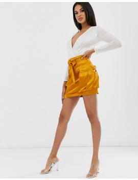 Asos Design White Sequin Embellished Wrap Body by Asos Design