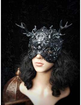 "Burlesque Antlers Blind Mask ""Lady Rococo"", Pagan Couture , Metal Mask, Fantasy Mask , In Different Colors Available/Made To Order by Etsy"