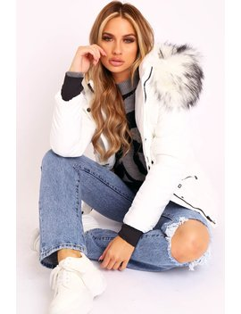 White Fur Trim Adjustable Waist Puffer Coat   Rossie by Rebellious Fashion
