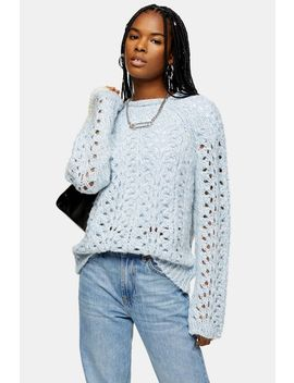Blue Knitted Open Stitch Jumper by Topshop