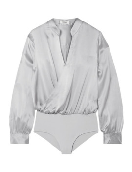 Marcella Wrap Effect Silk Satin And Stretch Jersey Bodysuit by L'agence