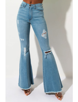 Flying Distressed High Rise Flare Denim by Akira