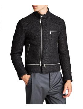 Textured Biker Jacket by Emporio Armani Textured Biker Jacket