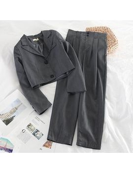 Miss Puff   Set: Cropped Blazer + High Waist Pants by Miss Puff