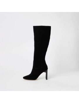 Black Suede Knee High Heeled Boots by River Island