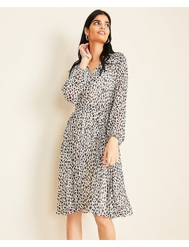 Petite Cheetah Print Pleated Skirt Dress by Ann Taylor
