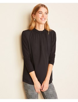 Petite Mixed Media Ruffle Neck Top by Ann Taylor