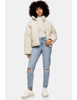 Bleach Wash Double Rip Mom Jeans by Topshop