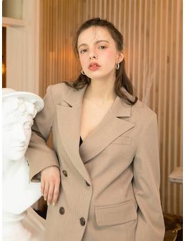Cuffs Stitch Double Herringbone Jacket Beige by 320 Showroom