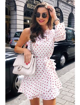 White And Red Polka Dot One Shoulder Frill Dress   Zyann by Rebellious Fashion