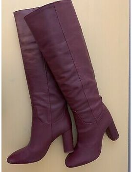 Zara Knee High Leather Boots Burgundy Size 37 (6 1/2) Orig $199.00 Nwt by Ebay Seller