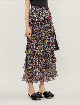 Jessica Floral Pattern Silk Crepe Midi Skirt by Olivia Rubin