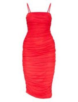 Robe Longue Rouge Froncée En Mesh à Bretelles by Prettylittlething