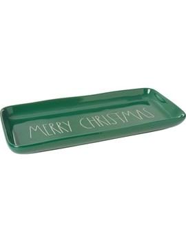 "Rae Dunn Green Merry Christmas Tray   14x7"" by Rae Dunn"