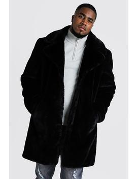 Big & Tall Faux Fur Overcoat by Boohoo