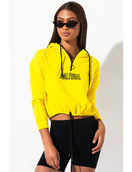 Aaliyah Graphic Cropped Half Zip Up Hoodie by Akira